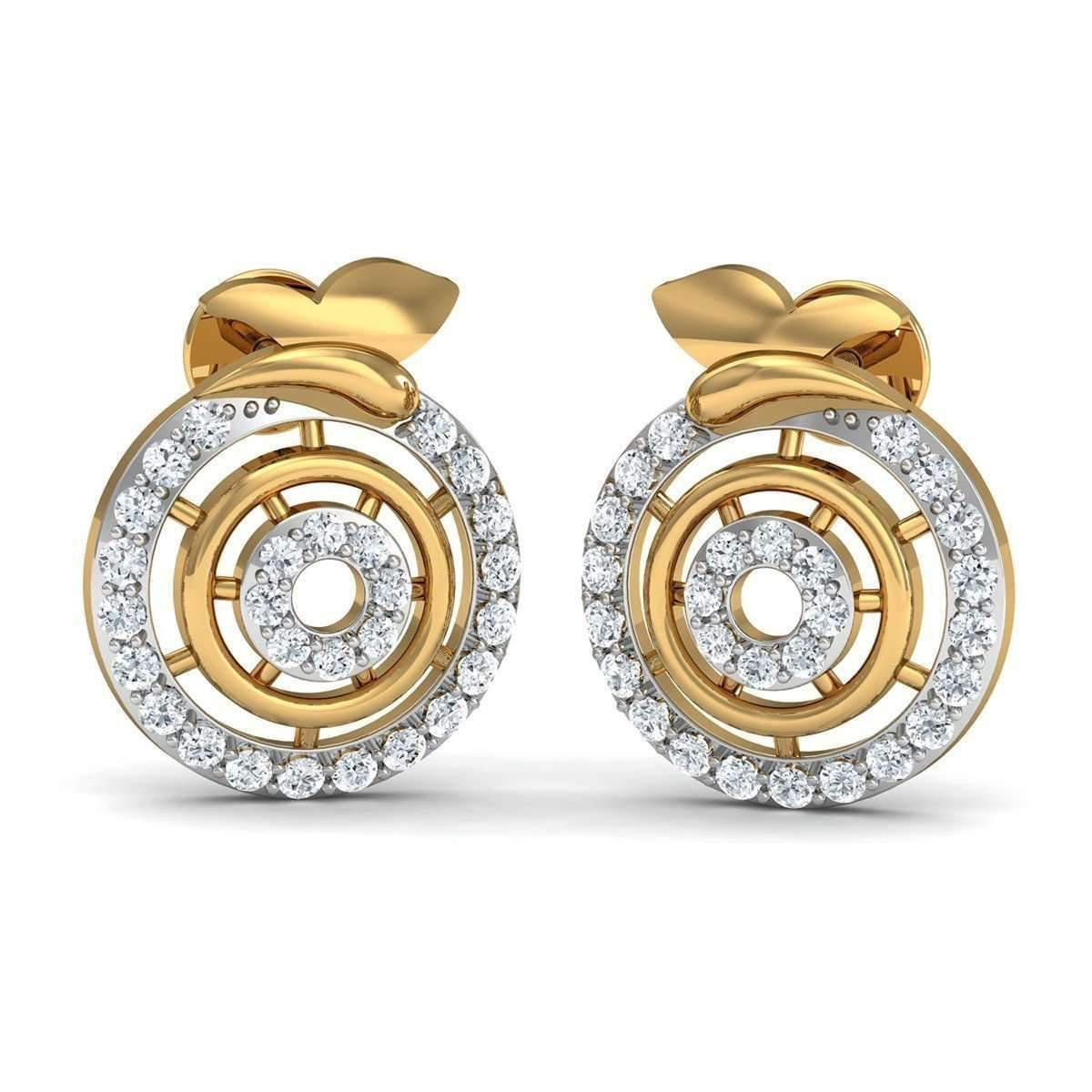 Diamoire Jewels Premium Diamonds and Hand-carved 14kt Rose Gold Nature Inspired Earrings PeoSGiUb7l