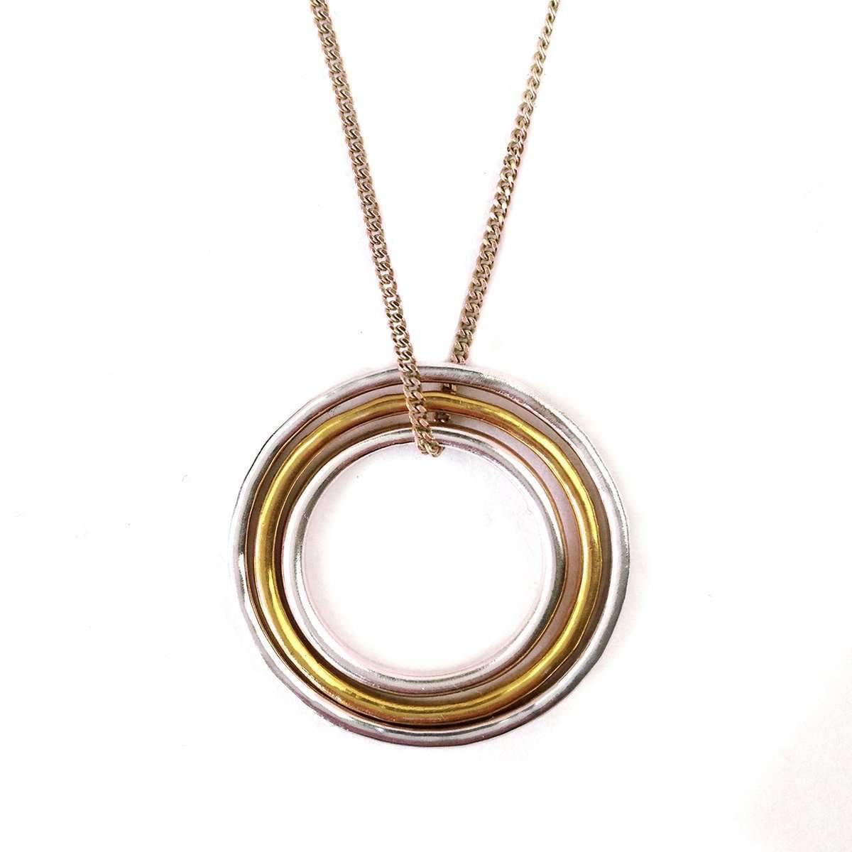 Fran Regan Jewellery Pendant 1 Silver Loop, 2 Vermeil Loops On Silver Chain