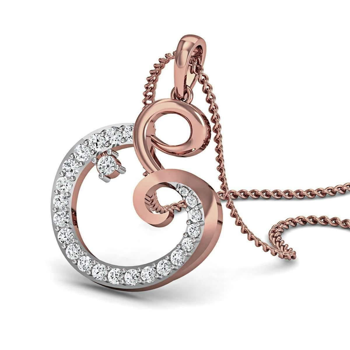 Diamoire Jewels Nature Inspired 14kt Rose Gold Pave Pendant Handset with Premium Diamonds i0HgKSkGG