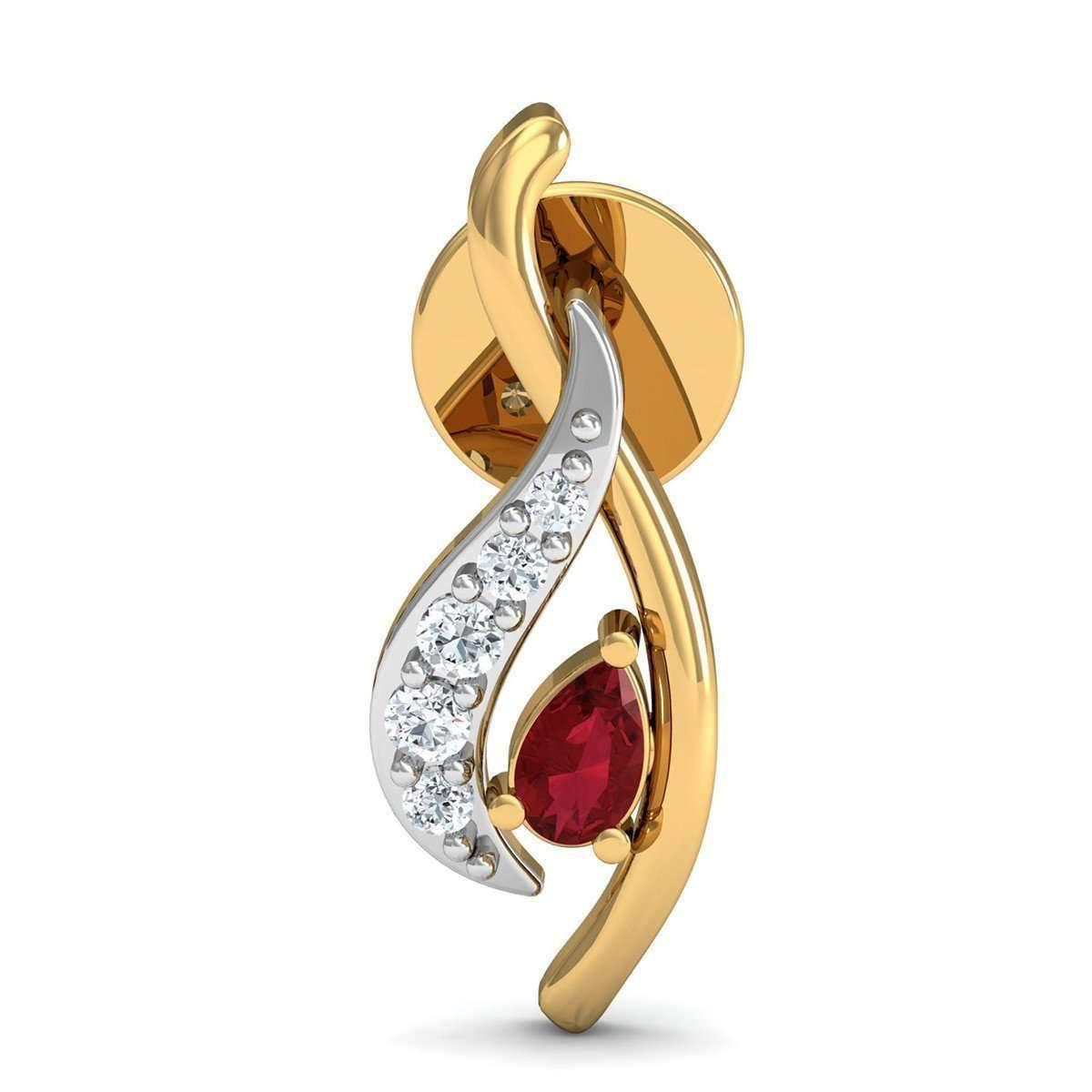 Diamoire Jewels Nature Inspired 10kt Yellow Gold and Pear Shaped Ruby Earrings with Premium Diamonds eBMBiIDfD