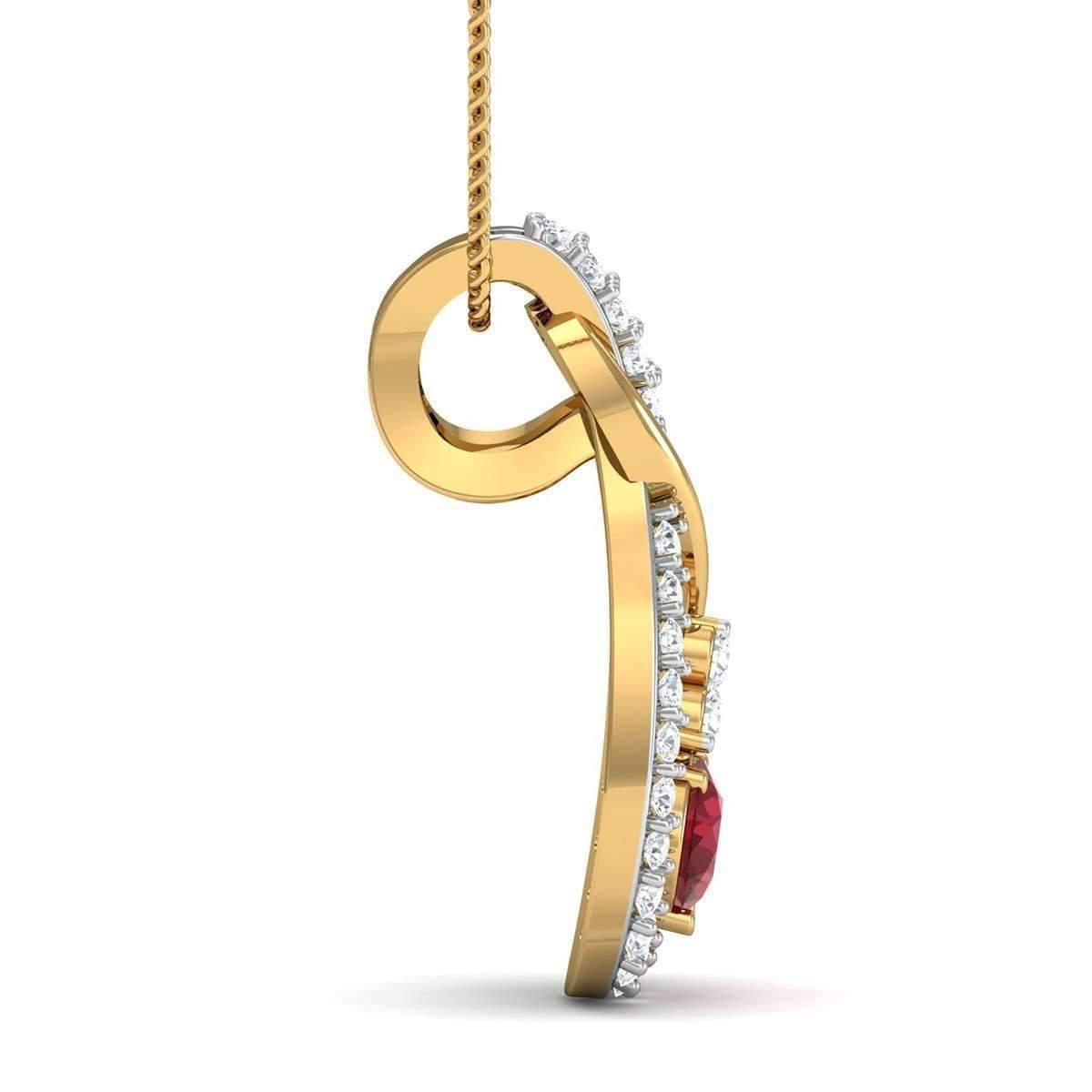 Diamoire Jewels Nature Inspired Oval Shape Ruby and Diamond Pendant in 14kt Yellow Gold 3LHWKz4f