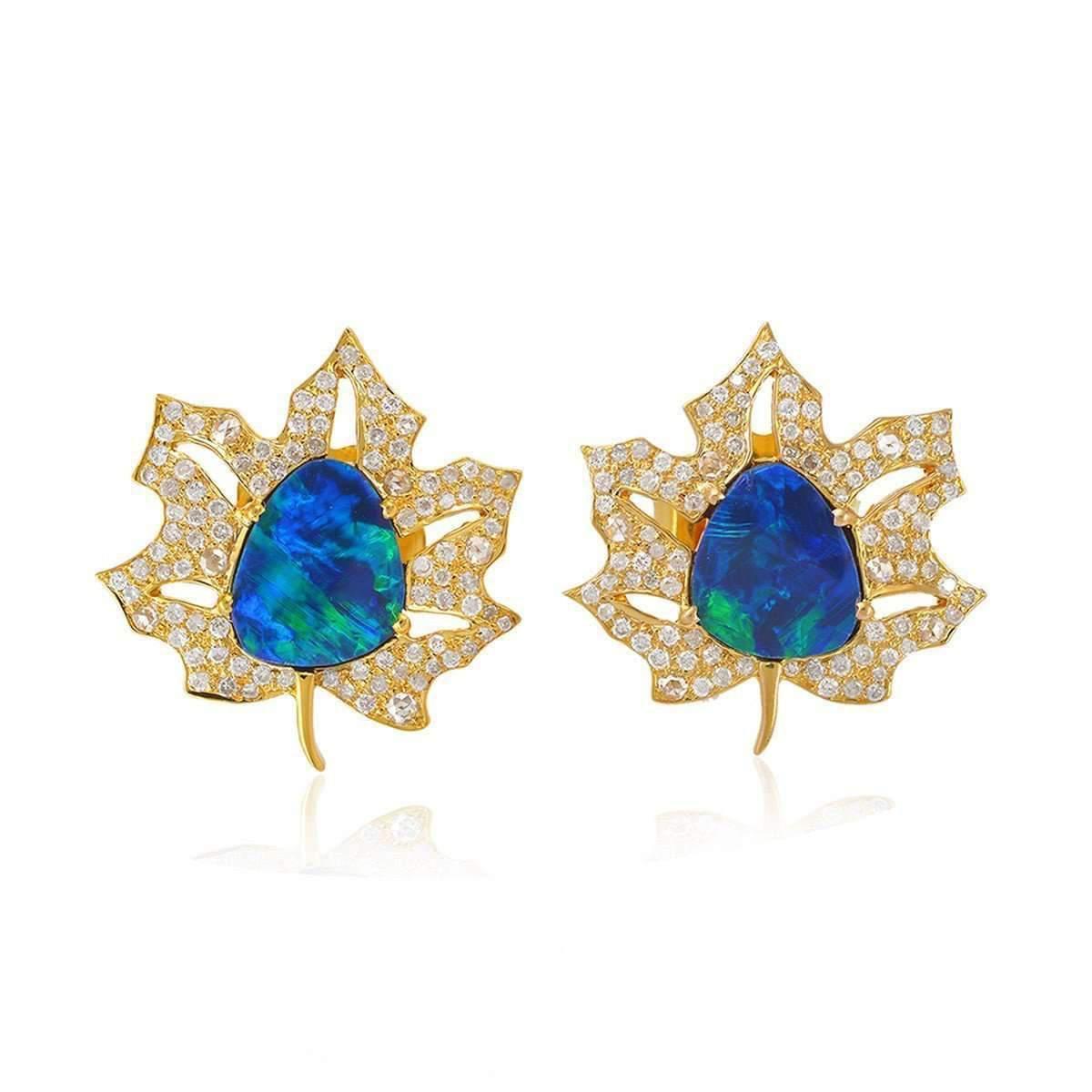 Socheec Maple Leaf Opal Stud Earring G0yPxO