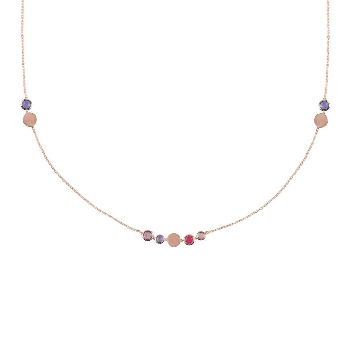 Latelita London Florence Round Gemstone Necklace Gold Peridot SS7Tx