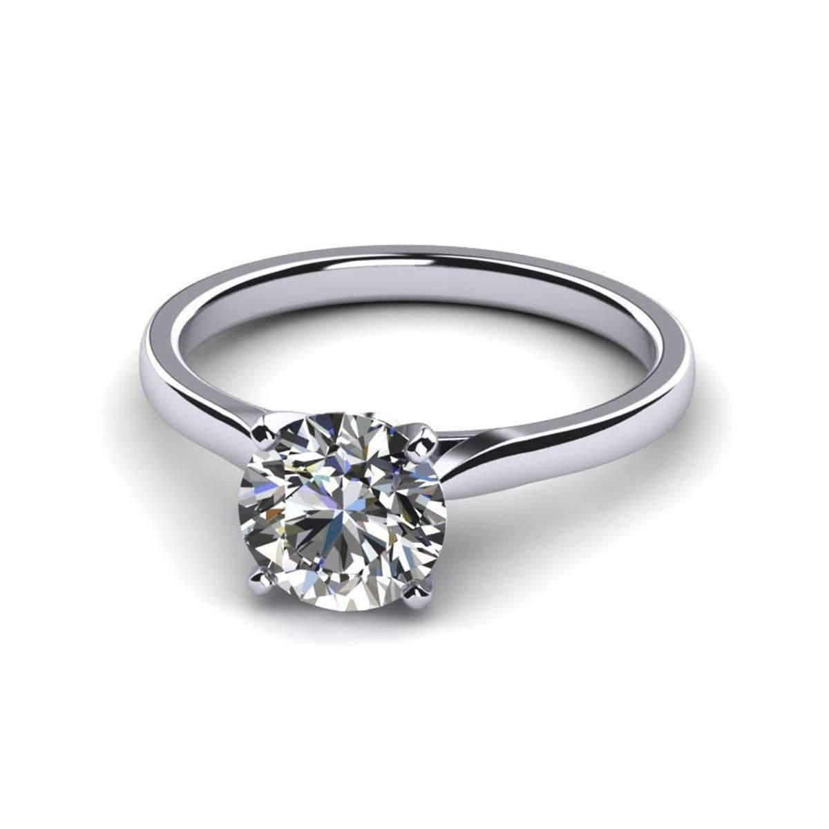 Diamoire Jewels White Round Cut Swarovski Zirconia Stud Earrings in 10Kt White Gold fRTYP