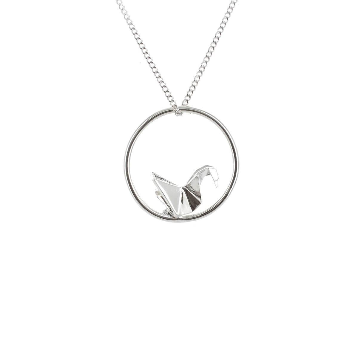 Origami Jewellery Sterling Silver & Gold Plate Swan Circle Origami Necklace zN7LG