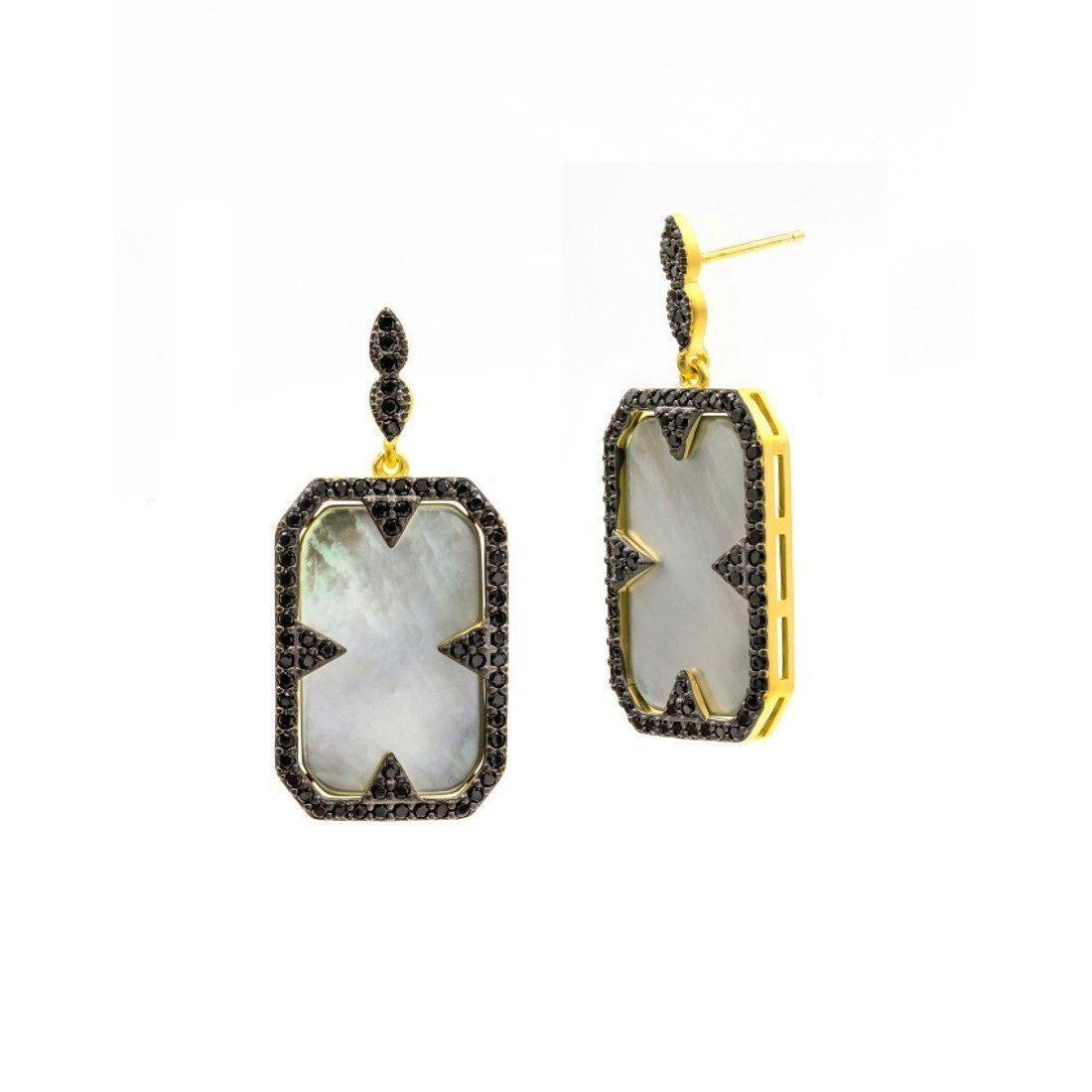 Freida Rothman Slated Noir Slice Drop Earrings A8XivY0h