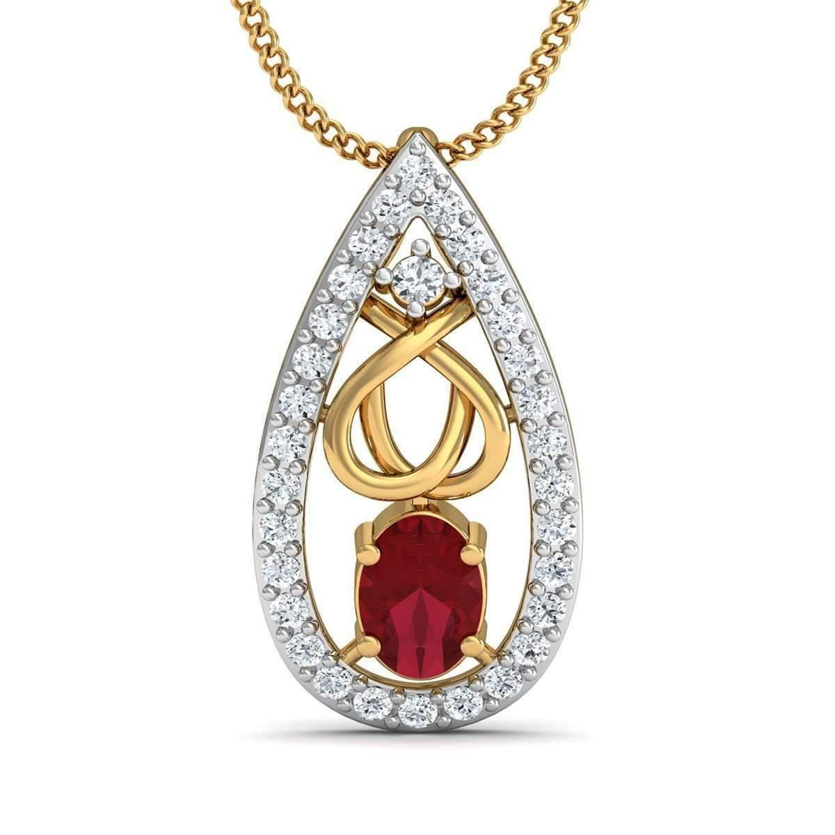 Diamoire Jewels Oval Cut African Ruby and Diamonds Hand-set in 14kt Yellow Gold x1KWCoq