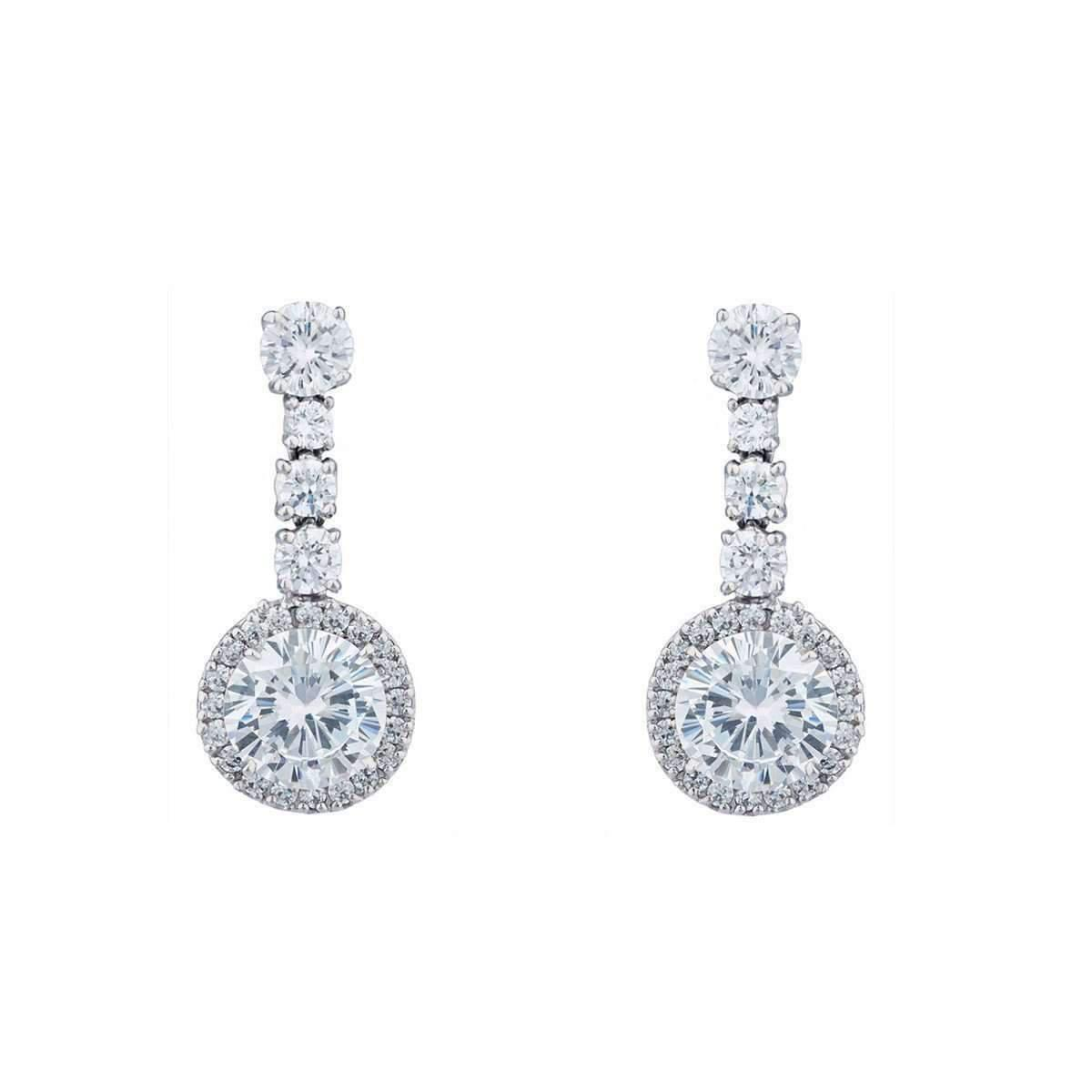 Fantasia Palladium Plated Pear Shape Cluster Earring