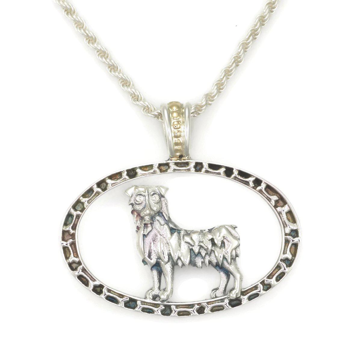 Donna Pizarro Designs Sterling Boston Terrier Necklace With 14kt Accent 9KqF7AZ