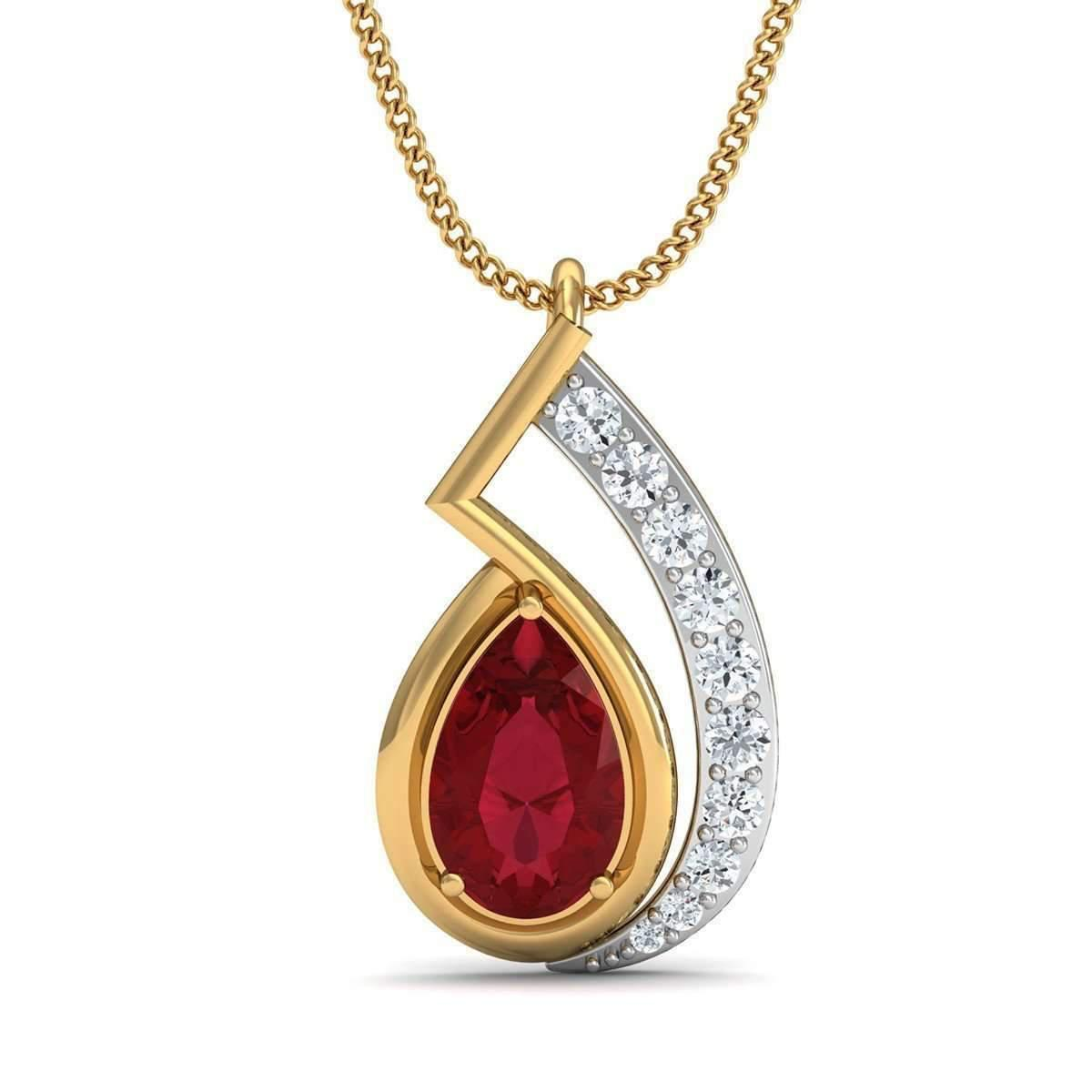 Diamoire Jewels Nature Inspired Prong Set African Ruby and Diamond Pendant in 18kt Yellow Gold MjNxytdd6