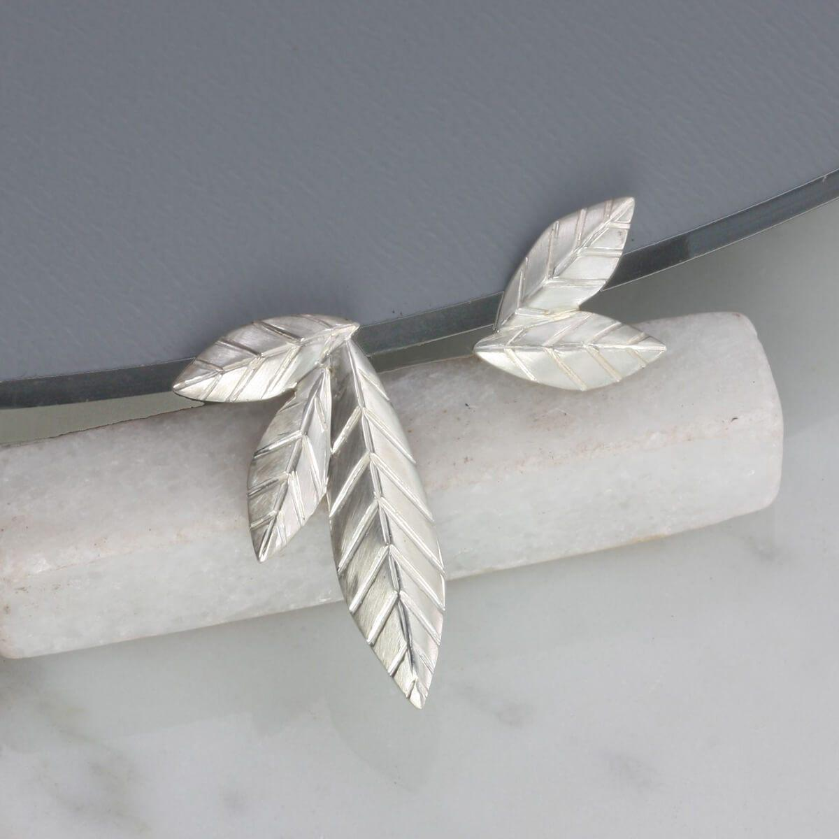 Jana Reinhardt Sterling Silver Mismatched Leaf Stud Earrings
