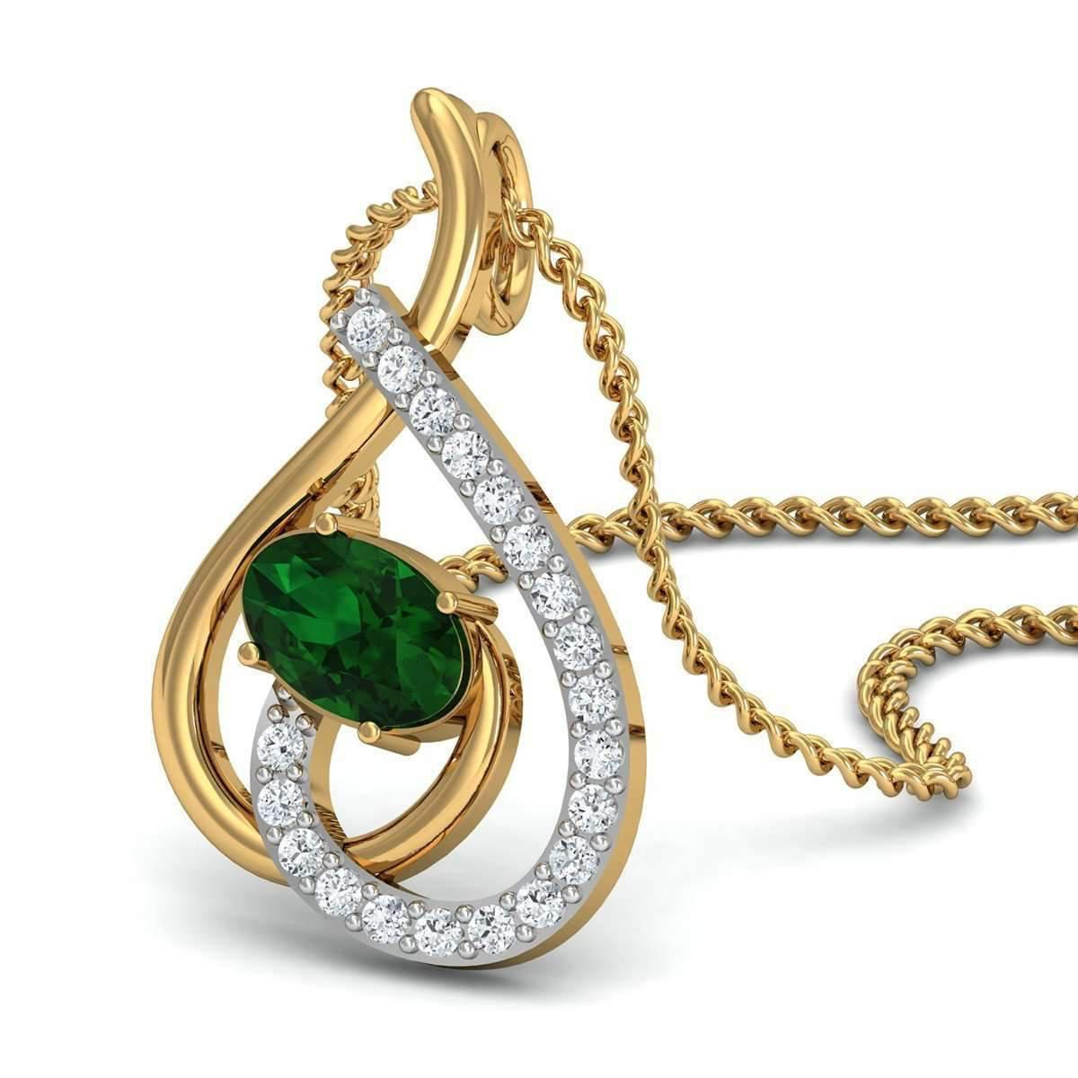 Diamoire Jewels Nature Inspired Oval Shape Ruby and Diamond Pendant in 10kt Yellow Gold m2hh3Ls