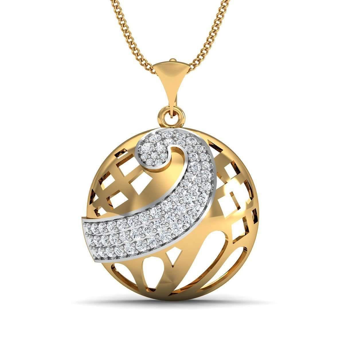 Diamoire Jewels 18kt Yellow Gold and Diamond Pave Pendant H6wXYwjKa