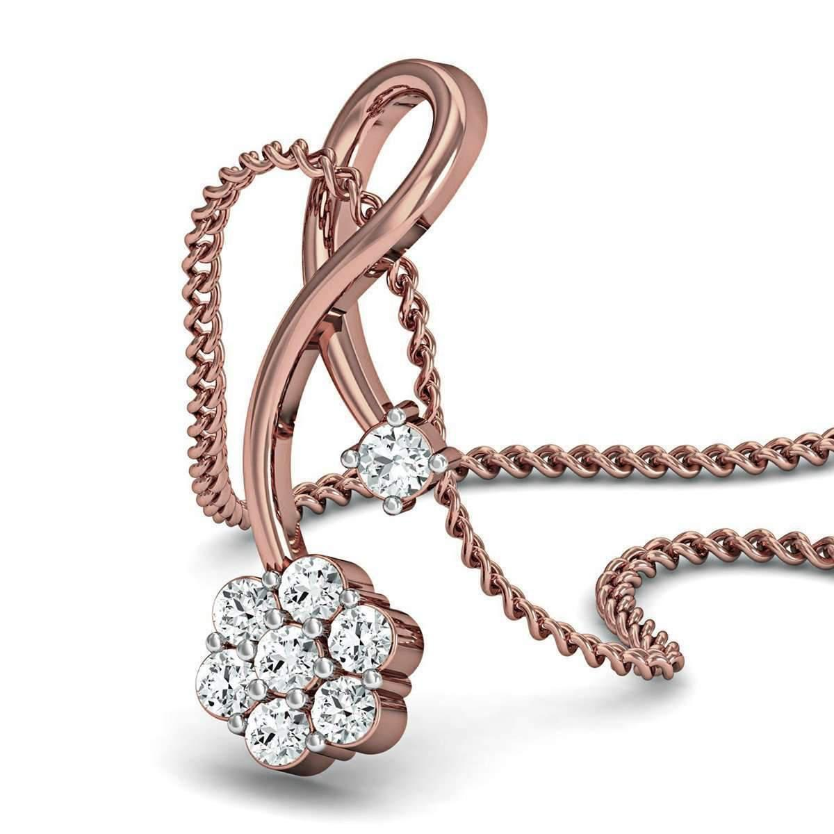 Diamoire Jewels Prong set Diamond Pendant Hand-hammered in Premium 10kt Rose Gold QLKvpU3QA