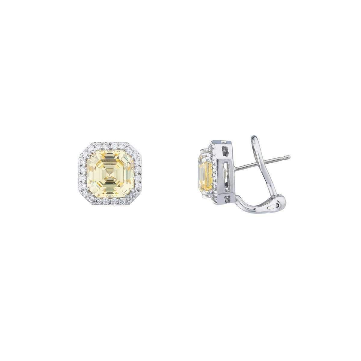 Fantasia Sterling Silver & Palladium Canary Pave Set Asscher Stud Earrings wR0vNO