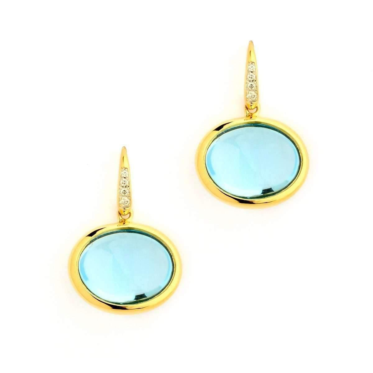 Syna 18kt Blue Topaz Earrings With Diamonds