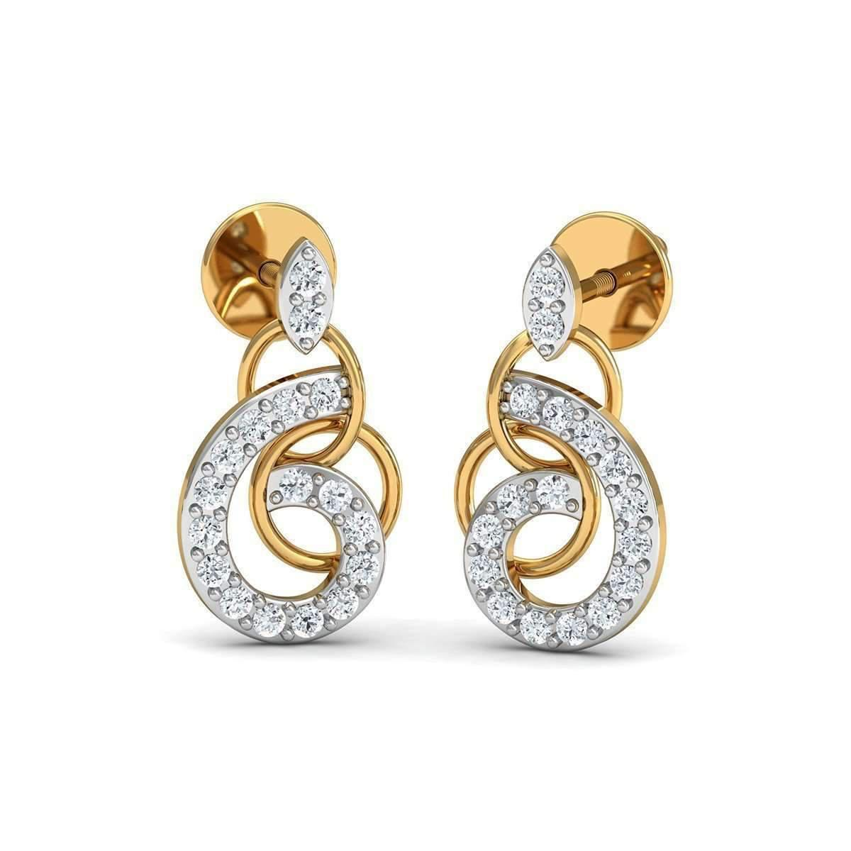 Diamoire Jewels Diamond and 10kt Yellow Gold Nature Inspired Ribbon Pave-Prong Earrings jYB4i