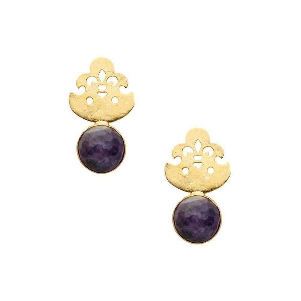 toosis Amethyst Fleur De Lis Earrings wBfAWJyxr6