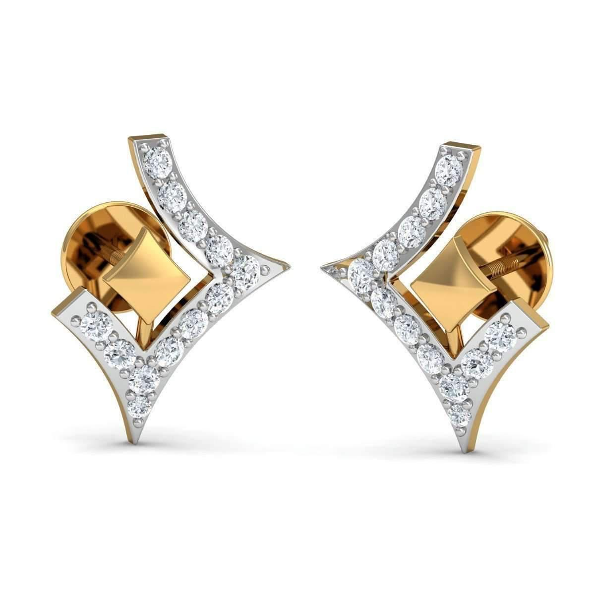 Diamoire Jewels Brilliant Cut Pave Diamond Earrings in 10kt Yellow Gold