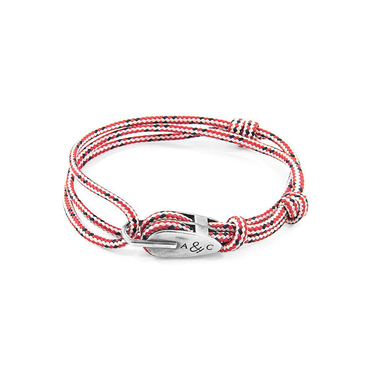 Anchor & Crew Red Dash Tyne Silver And Rope Bracelet xntxgR6XM