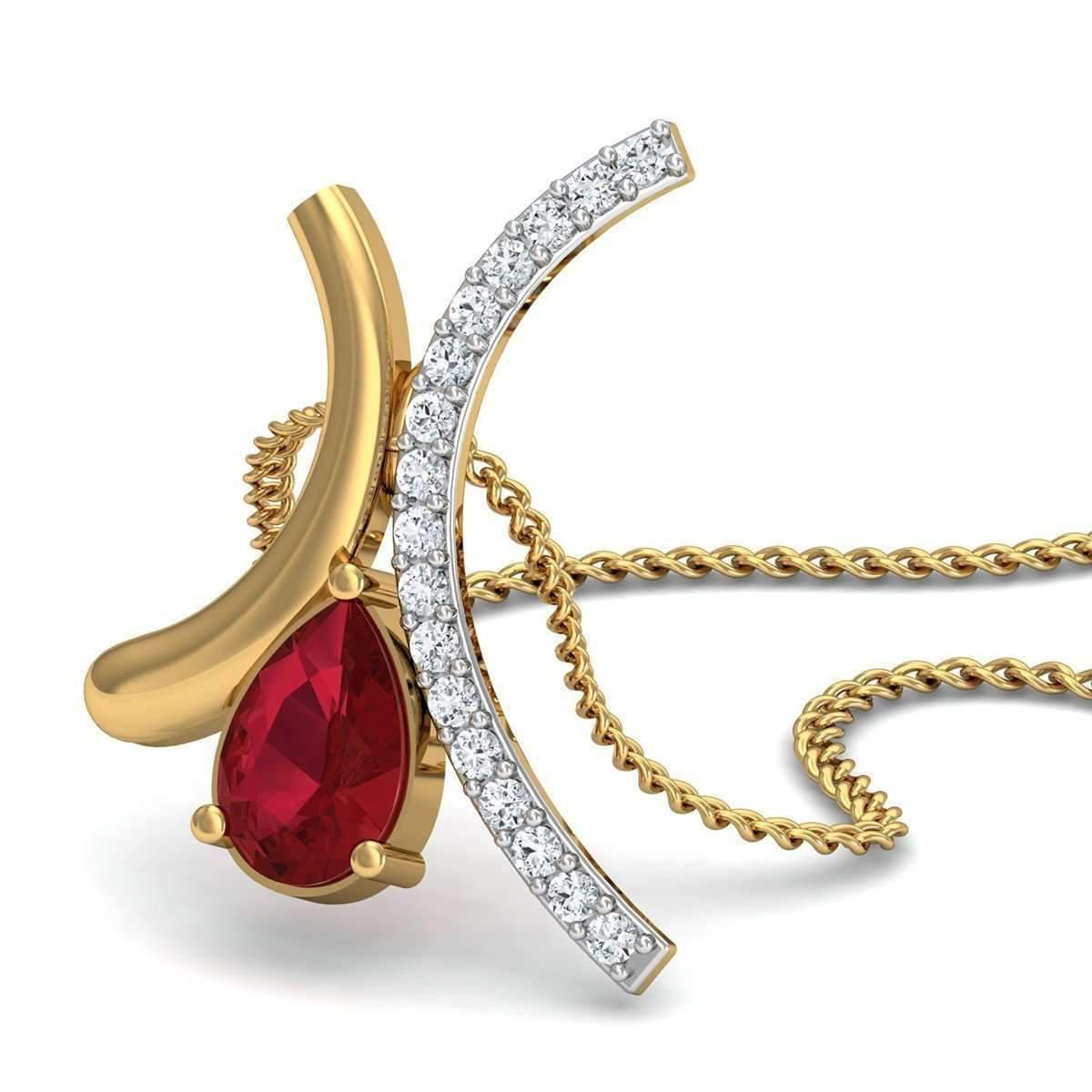 Diamoire Jewels Pave Set Diamond and Pear Cut Ruby Pendant in 14kt Yellow Gold fPeWVpvY