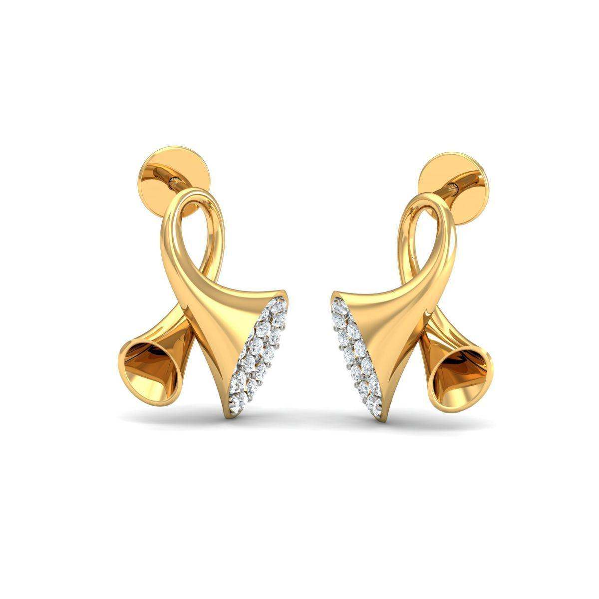 Diamoire Jewels 18kt Yellow Gold 0.24ct Pave Diamond Infinity Earrings I TzoLP