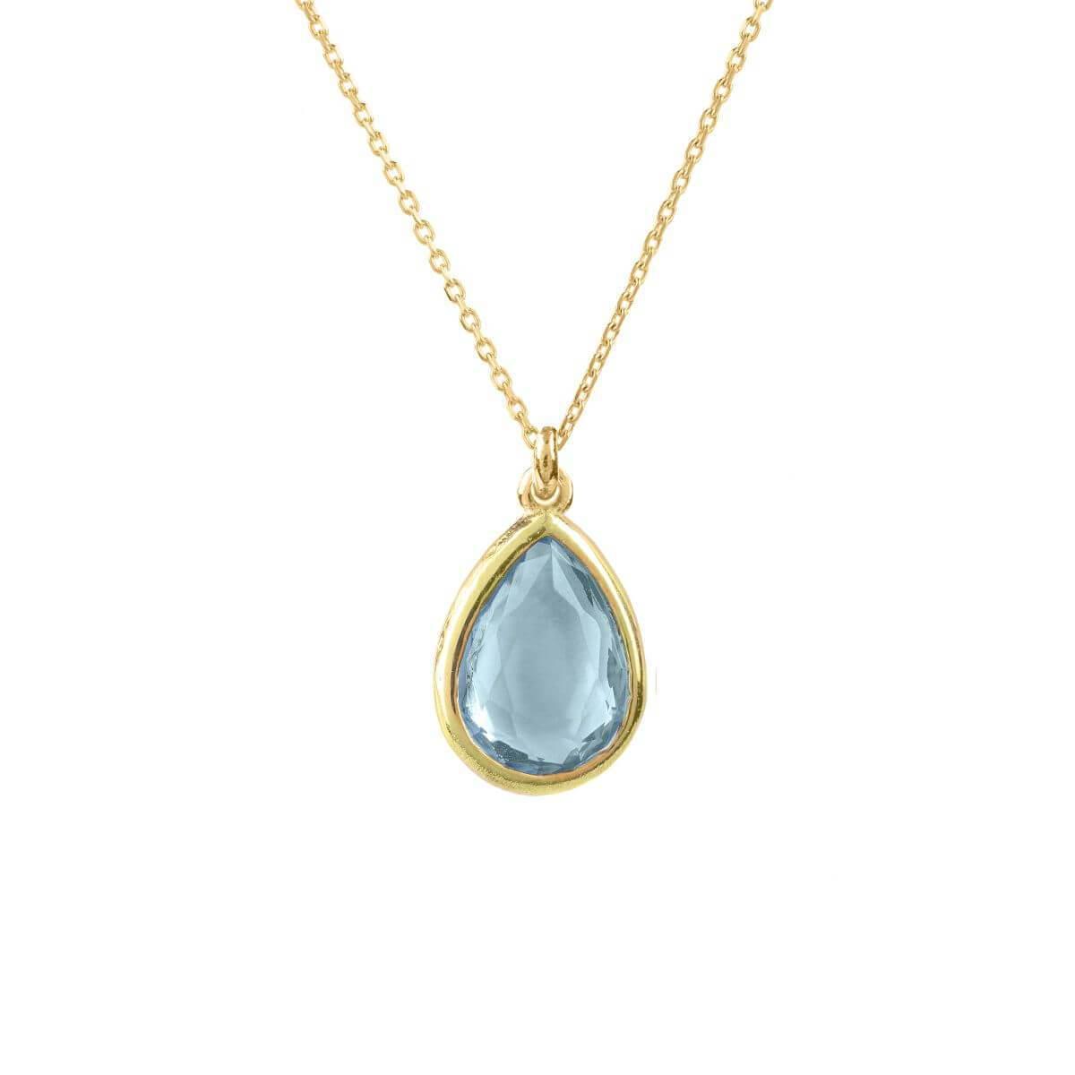 Latelita London Pisa Mini Teardrop Necklace Silver Blue Topaz CyTfnhR