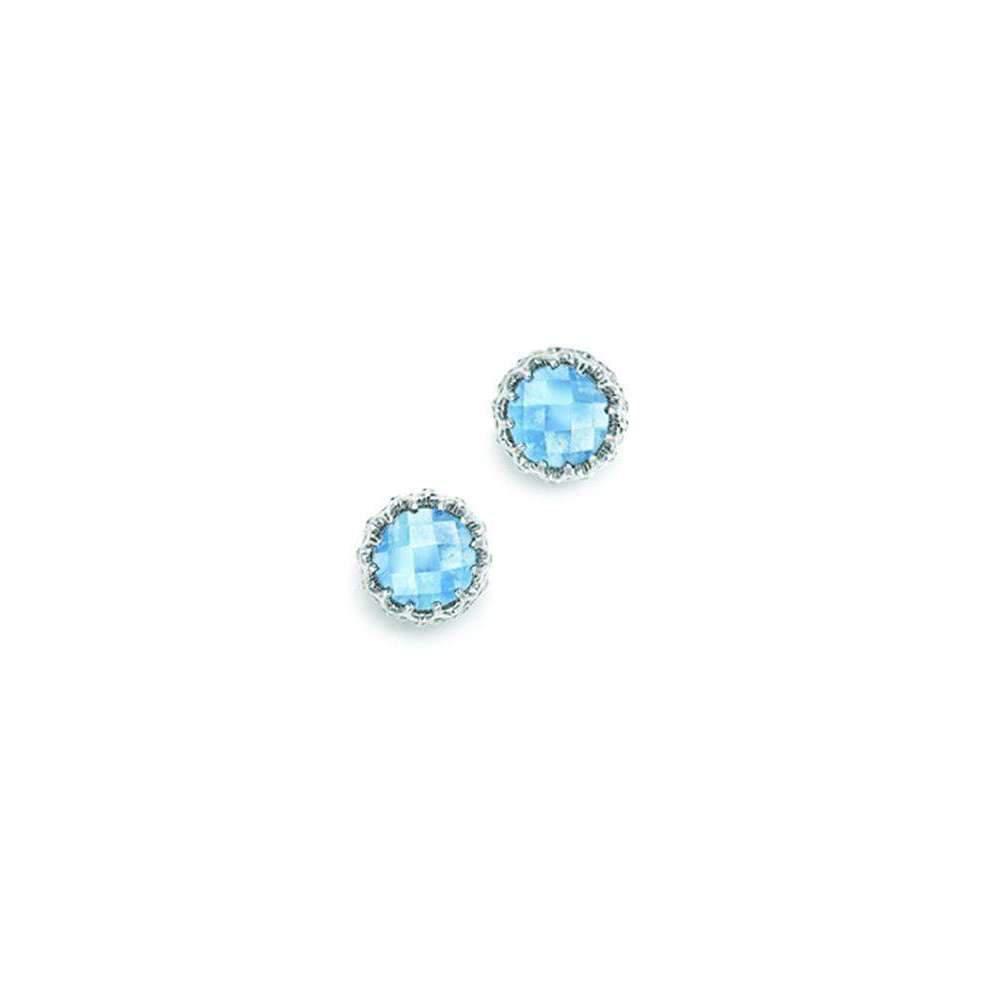 London Road Jewellery Bloomsbury White Gold Blue Topaz Coronation Stud Earrings utfZC
