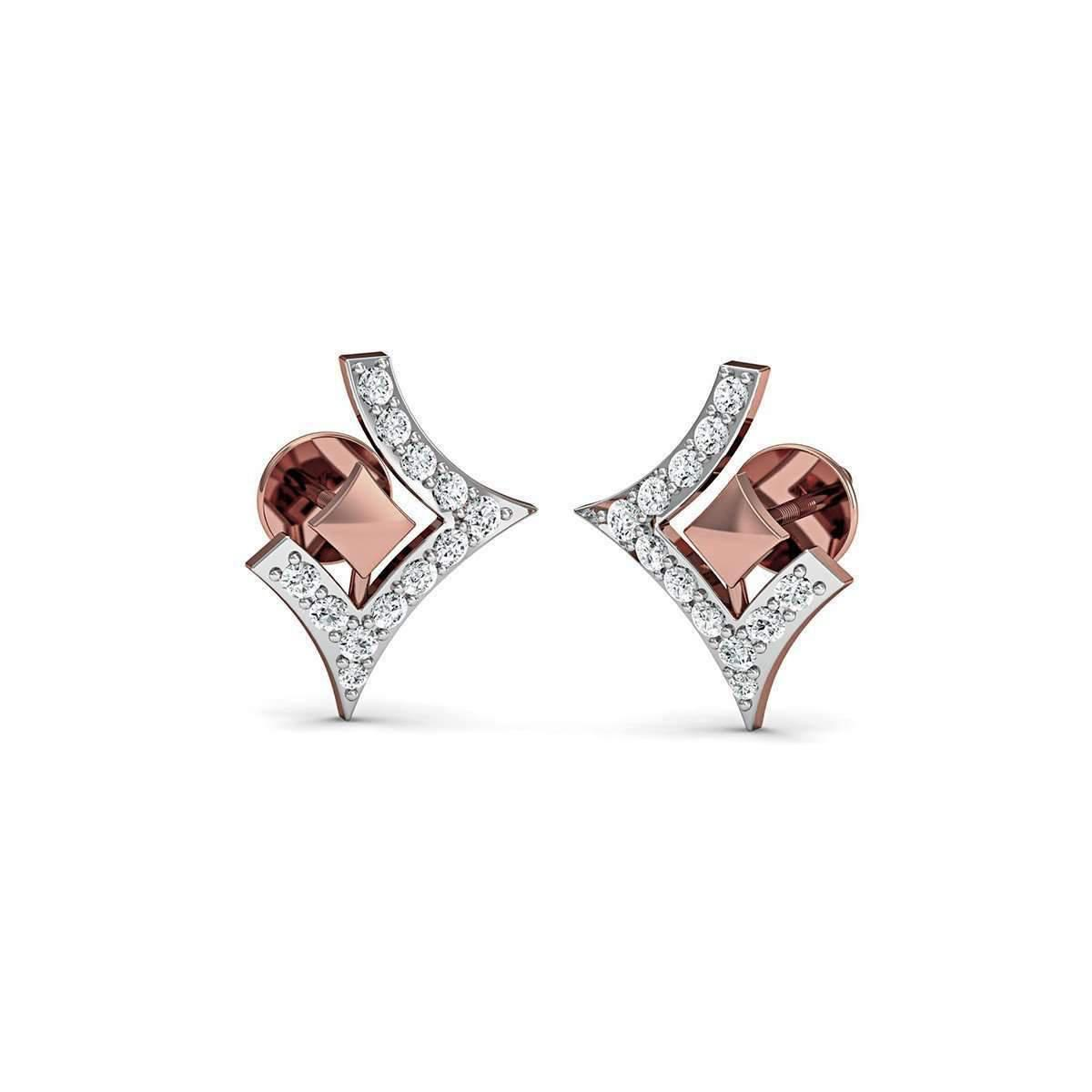Diamoire Jewels 14kt Rose Gold Earrings with 14 Premium Quality Diamonds Inspired by Nature o926j4T