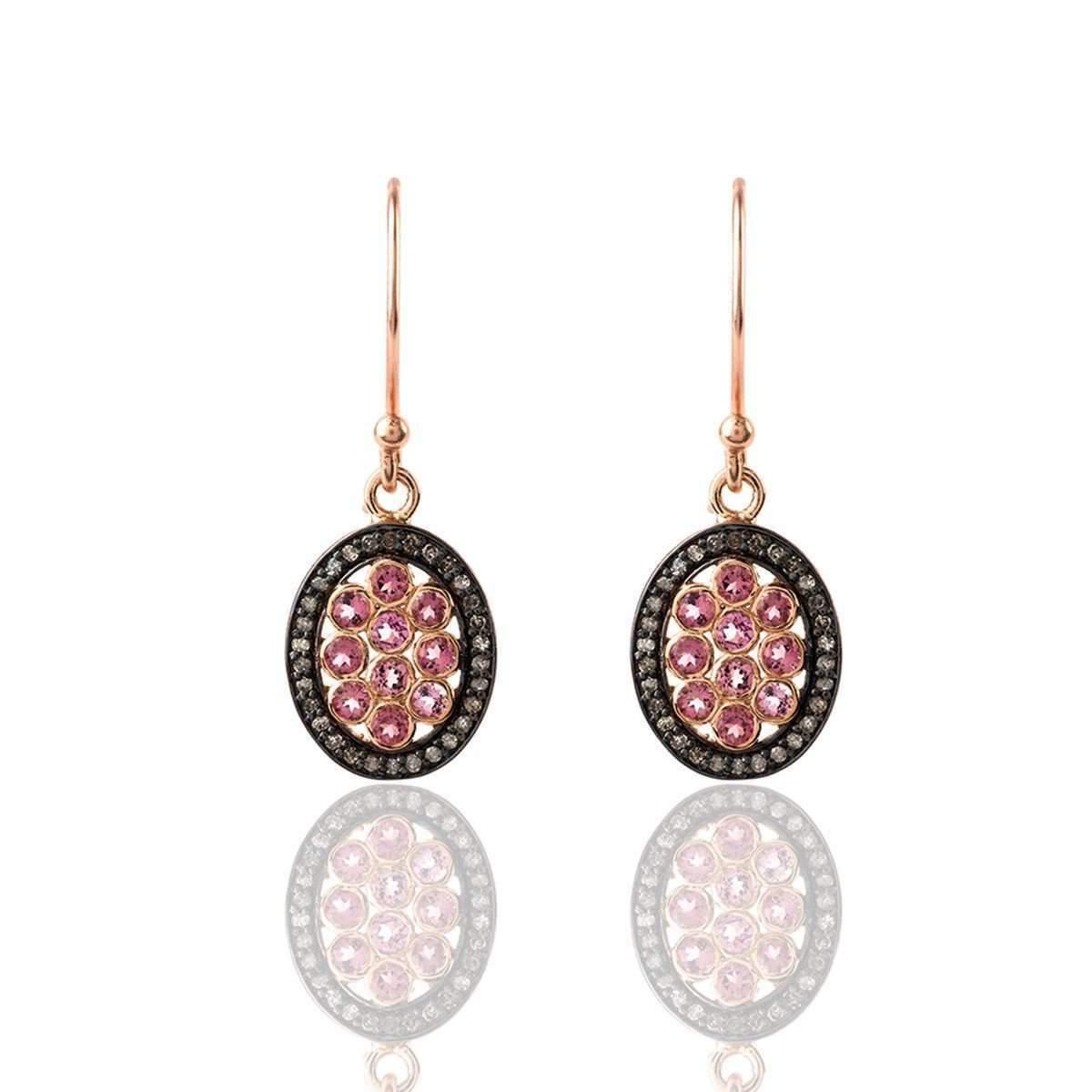 Latelita London Diamond Heart Pink Tourmaline Earring CiKp2e
