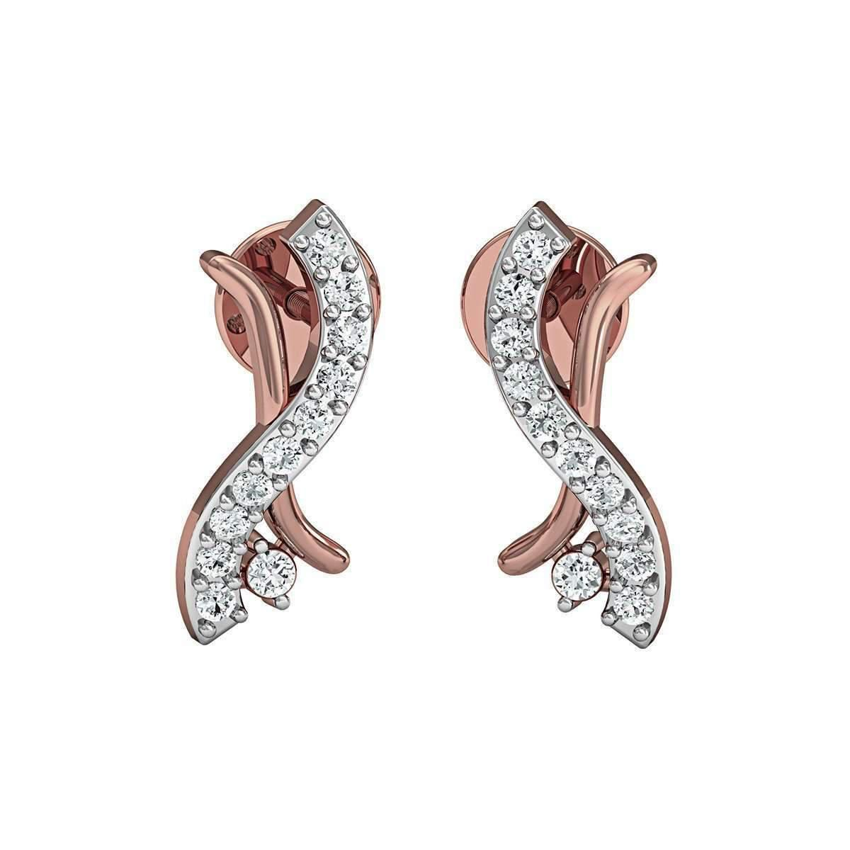 Diamoire Jewels 10kt Rose Gold and Diamond Earrings in Pave Setting 6FLYcB