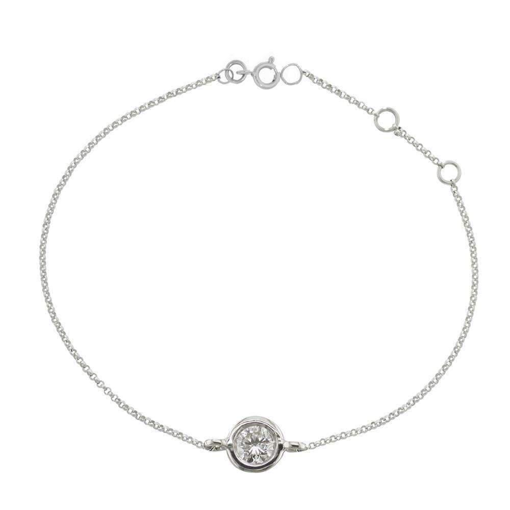 London Road Jewellery White Gold Solitaire Diamond Raindrop Bracelet a4pEZ