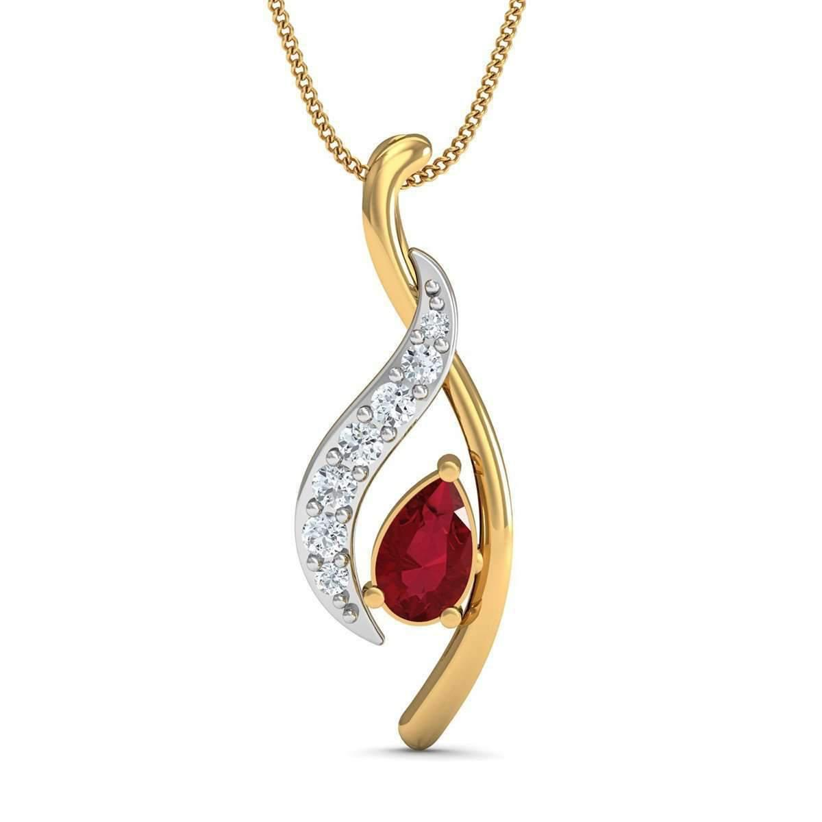 Diamoire Jewels Premium Diamonds and Hand-carved 14kt Yellow Gold Nature Inspired Pendant