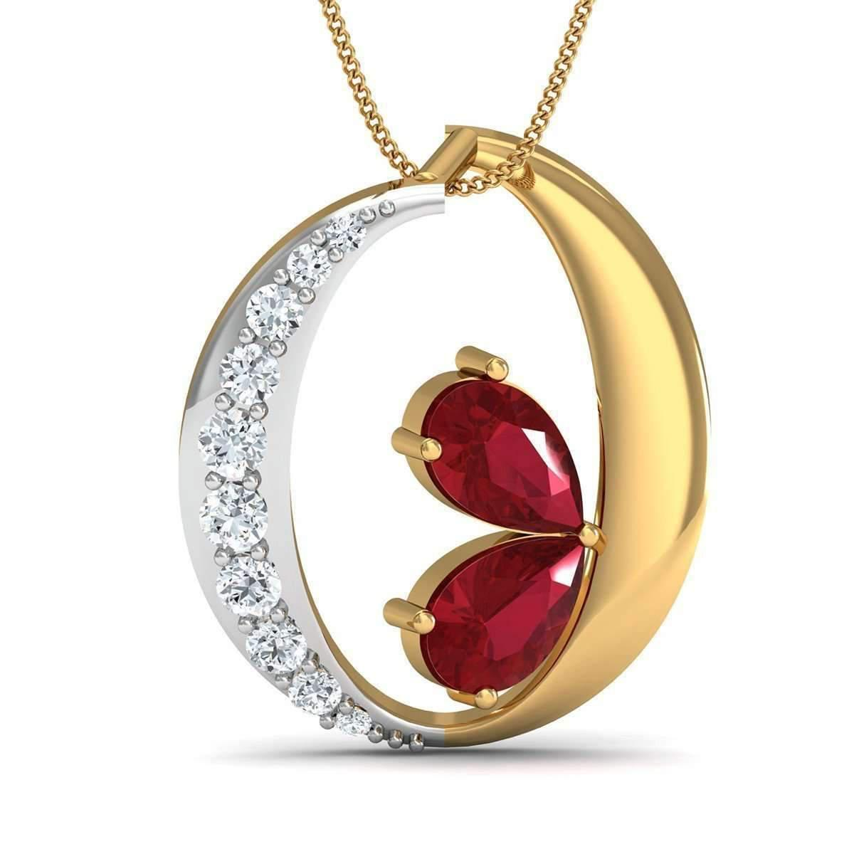 Diamoire Jewels Diamond and Pear Cut Ruby Pendant Hand-carved From 14kt Yellow Gold KU0K2je