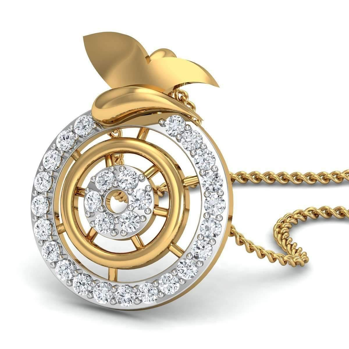 Diamoire Jewels 18kt Yellow Gold and Diamond Pendant in a Pave Setting R1wDfv