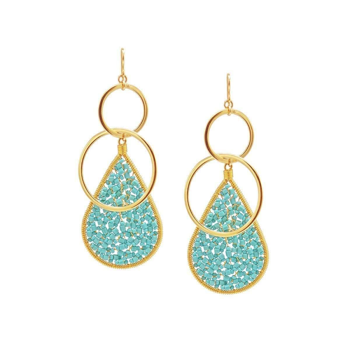 Devon Leigh Turquoise & Coral Teardrop Earrings kNKe94DR