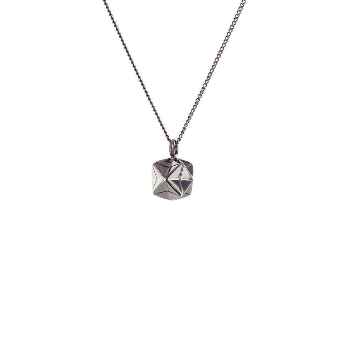 Origami Jewellery Black Silver Mini Magic Ball Origami Necklace 2IsJOo71n