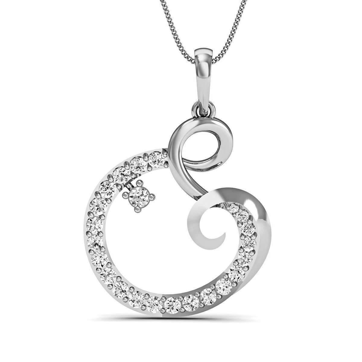 Diamoire Jewels Nature Inspired Pave Set Diamond Pendant in 18kt White Gold d2t13oTRjo
