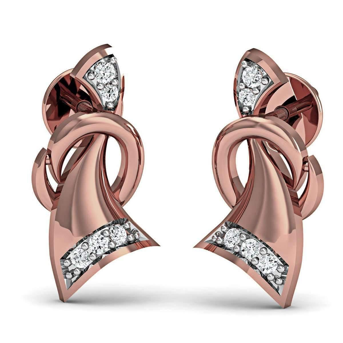 Diamoire Jewels Hand-carved 14kt Rose Gold and Diamond Pave Earrings J5m8F86r