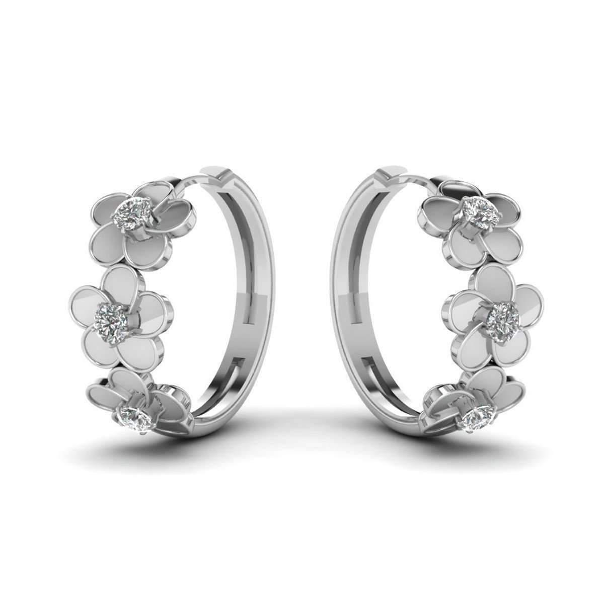 Diamoire Jewels Stud Blossom Delight Earrings in 10Kt White Gold XBcQ8a