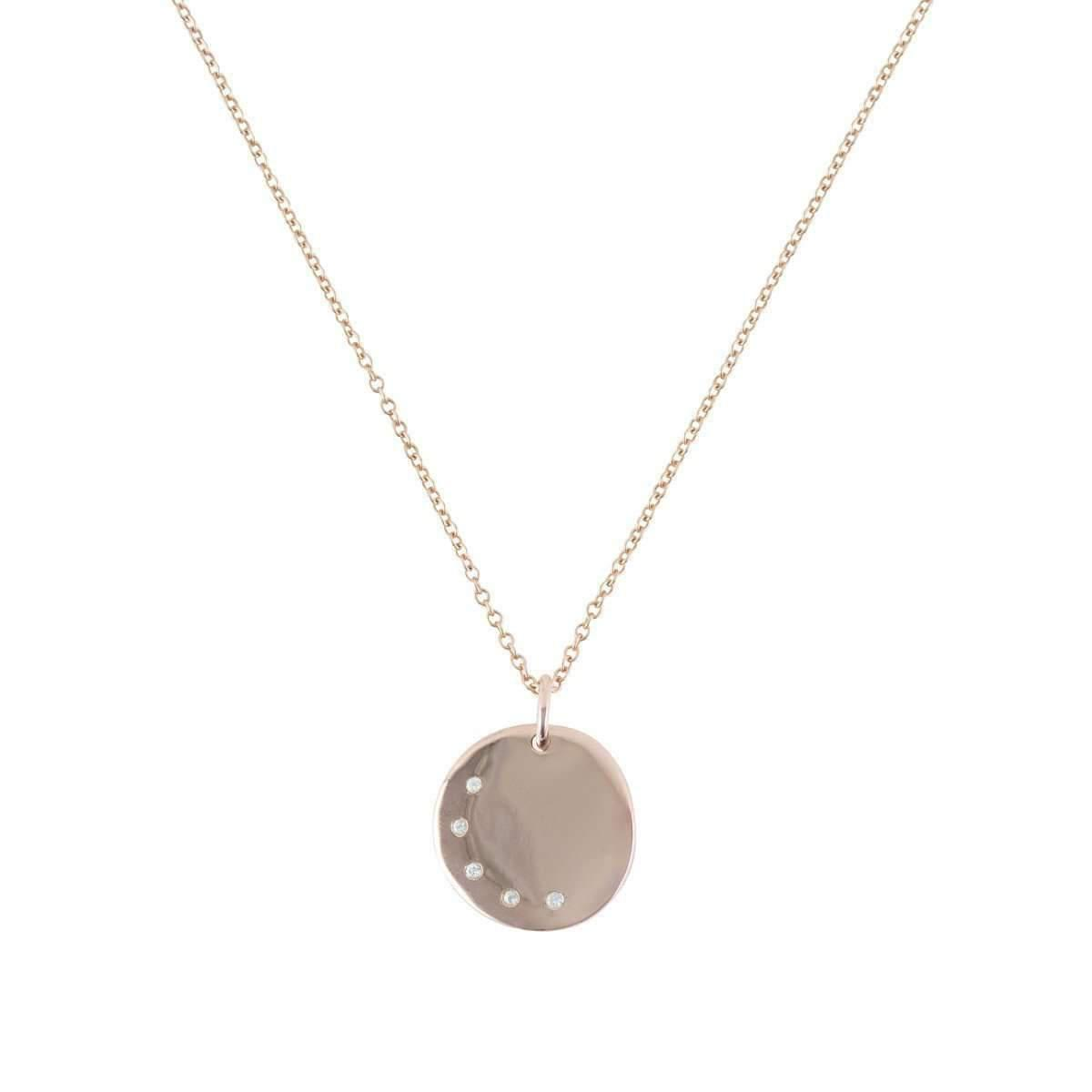 Deborah Blyth Jewellery Personalised Rose Gold Disc Pendant With White Sapphires HNGSZCyLAG