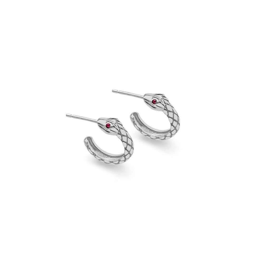 London Road Jewellery Kew Serpent Sterling Silver Ruby Hoop Earrings kXwJD