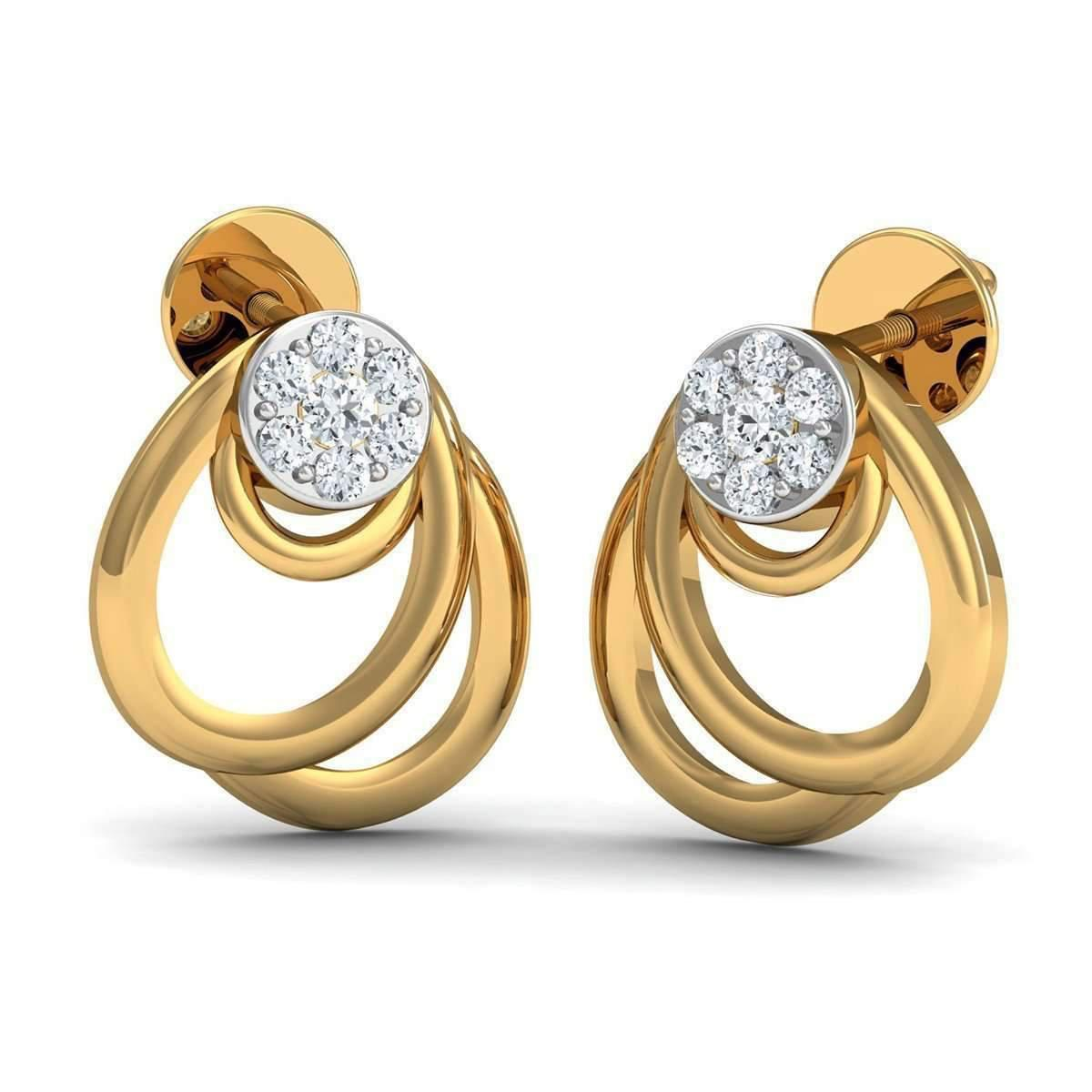 Diamoire Jewels 10 Round Cut Diamonds and 18kt Yellow Gold Nature Inspired Pave Earrings OKXfR