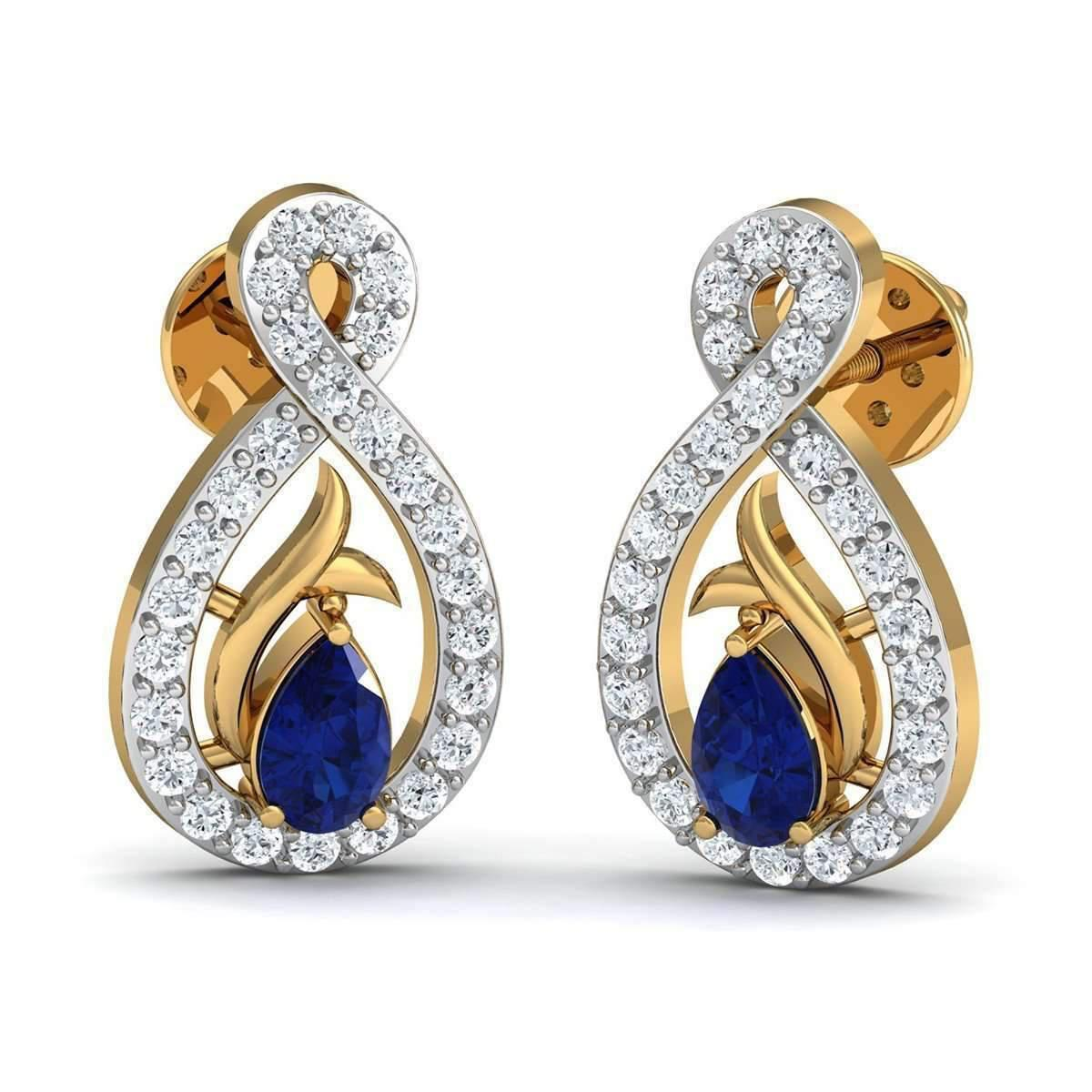 Diamoire Jewels Oval Cut Blue Sapphire and Diamond Earrings in 10kt Yellow Gold JPnd4
