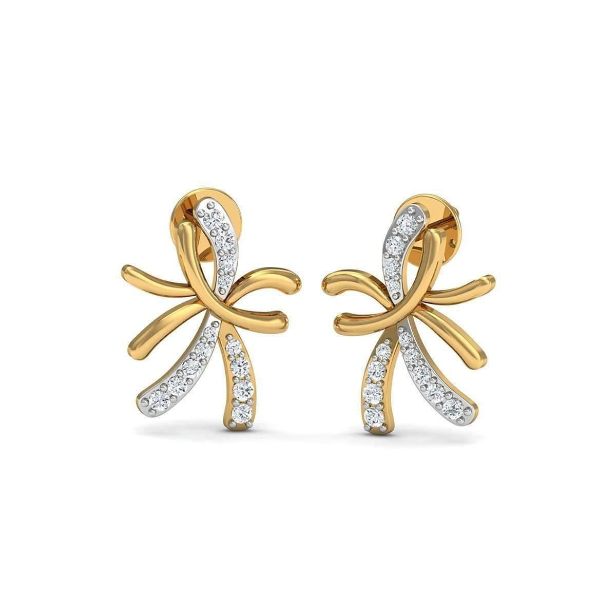 Diamoire Jewels Nature Inspired 10kt Yellow Gold and Diamond Pave Earrings lOMF6bu