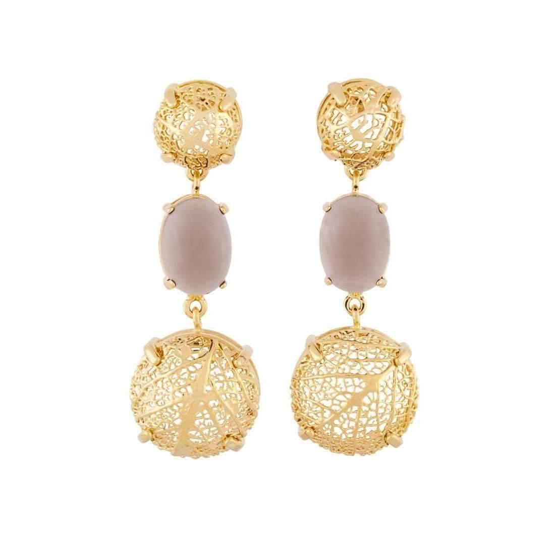 Amazona Secrets 18kt Gold & Quartz Savannah Leaf Necklace Lxd967d
