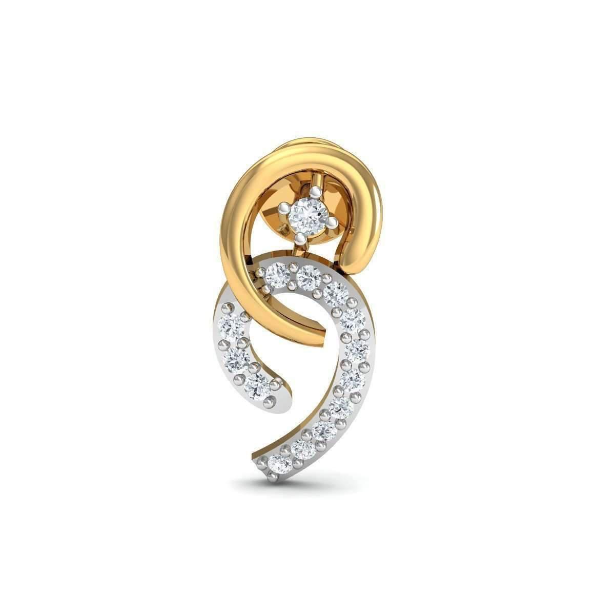 Diamoire Jewels Dangly Diamond Stud Earrings in 18kt Yellow Gold ju8ObRN2e