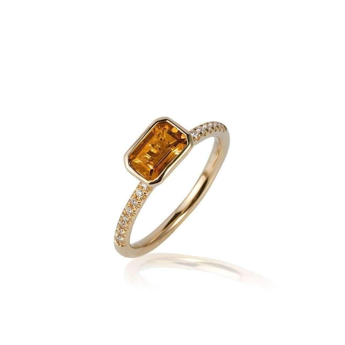Goshwara Gossip 3 Stone Citrine Emerald Cut Rings - 6.5 (M) vwf1yk