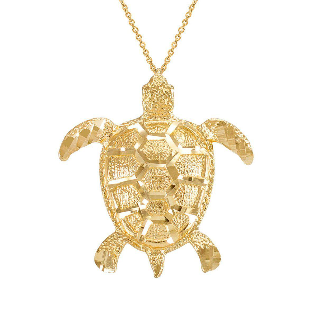 Lyst qp jewellers textured style sea turtle pendant necklace in gallery aloadofball Image collections