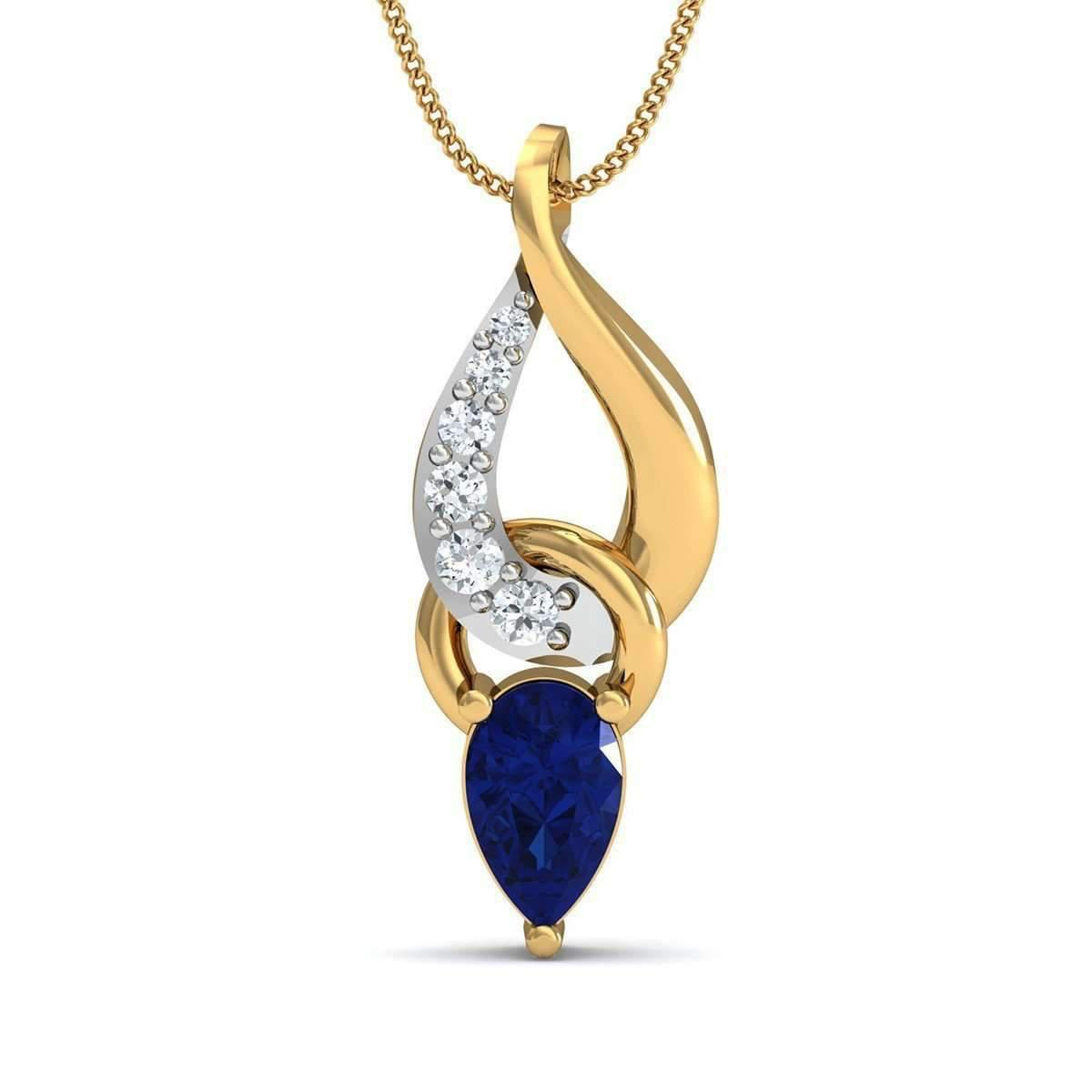 Diamoire Jewels Nature Inspired Diamond and Blue Sapphire Pendant in 10kt Yellow Gold DZ8iiRQ2S